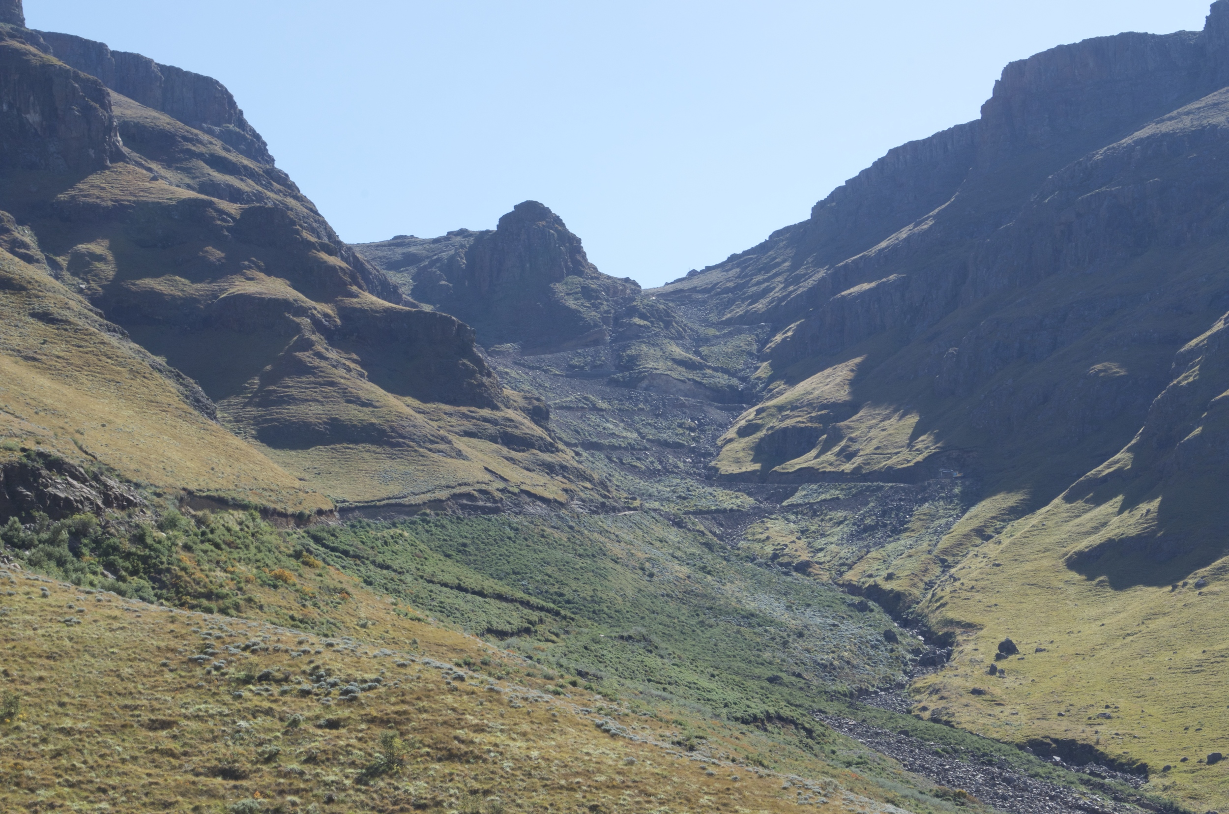 Looking up towards Sani Pass:  8 km of hairpin bends, loose rocks, and sheer drops.