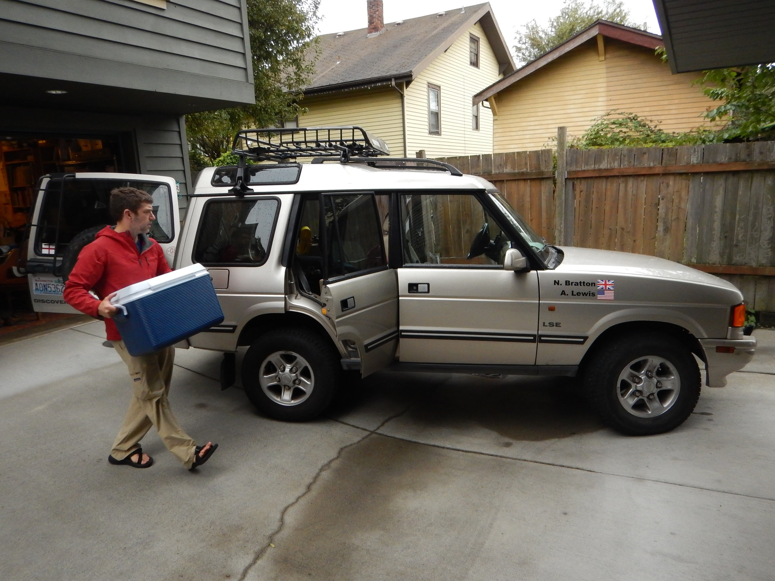 Andy loads the Disco. Unbelievably, even though this wasn't a Yeti cooler, it still had ice in it three days later.