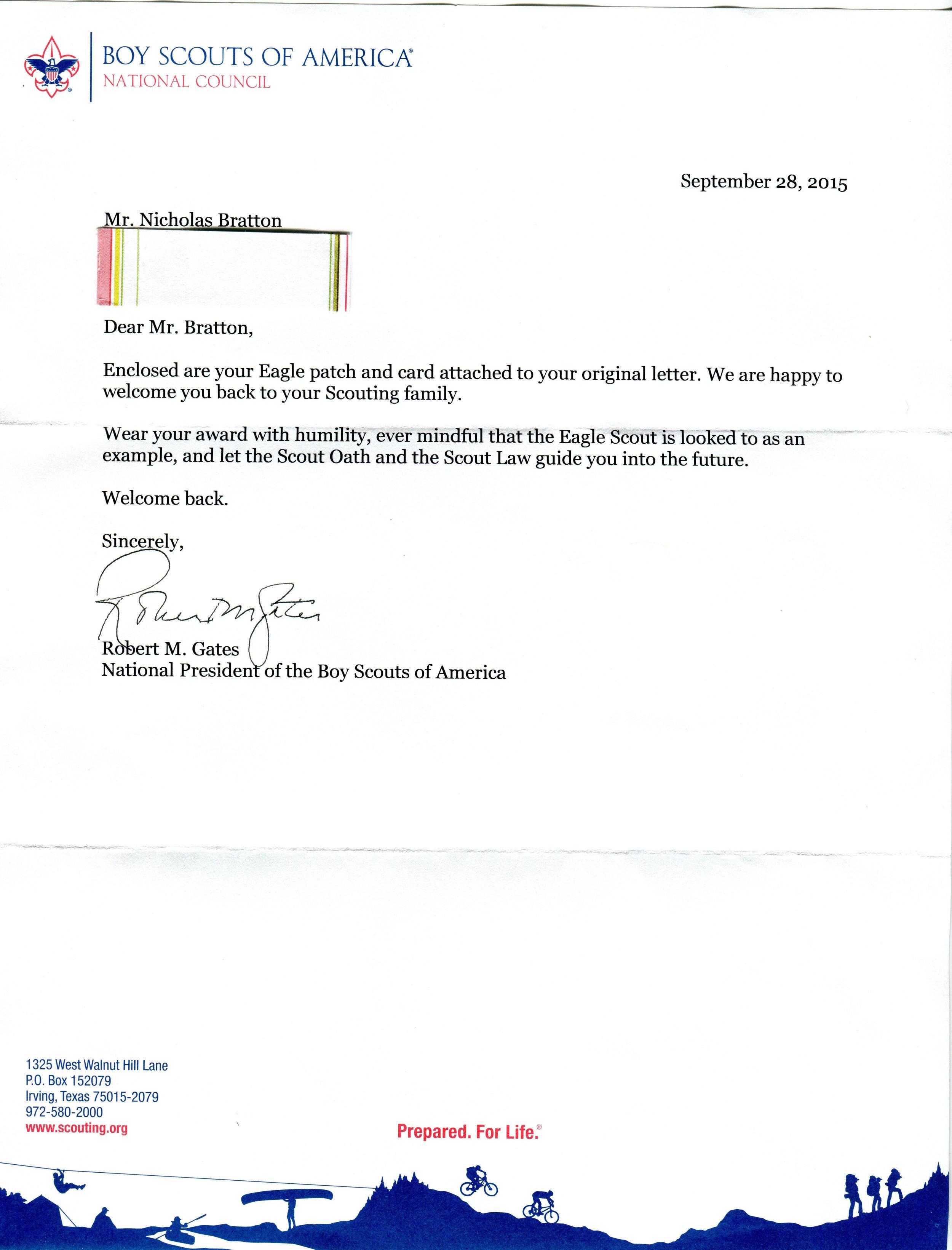 Gates response letter