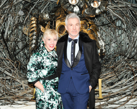 Baz Luhrmann and Catherine Martin in front of Chris Cole's Owl