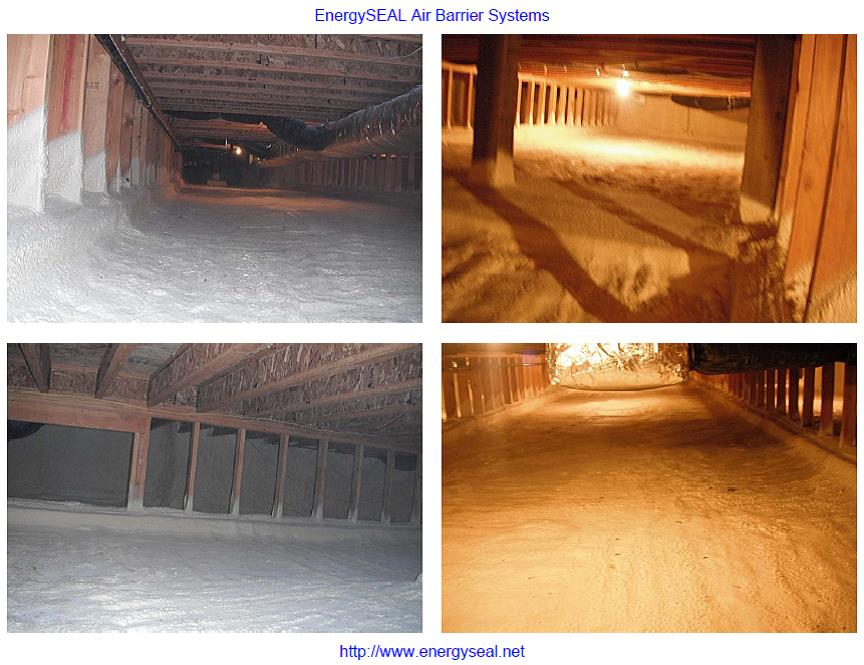 Wehave arigid spray foamoption forour crawl space floors to create a totally conditioned crawl space.  From the crawlspace to the R-50 attic this creates a superior insulated envelope for the home. Prior to placing the foam we place 3/4 aggregate down as a capillary break between earth and insulation.