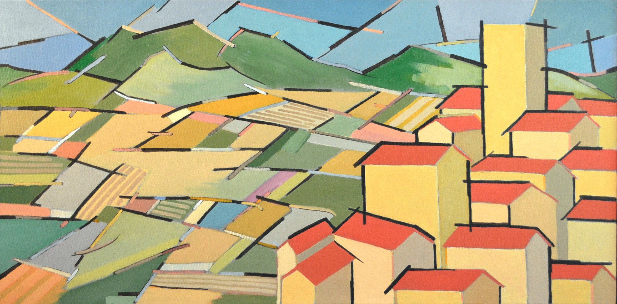 Tuscan Town With Landscape  30 x 16  oil/canvas