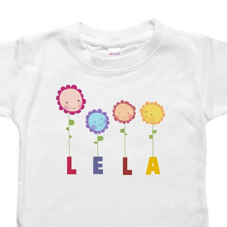 Floral Garland Flowers Toddler Shirt Tshirt Personalized Baby Bodysuit Baby Shower Birthday Gift