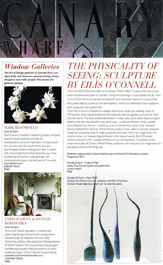 Hannah Kokoschka and Emma D'Arcey in Canary Wharf magazine