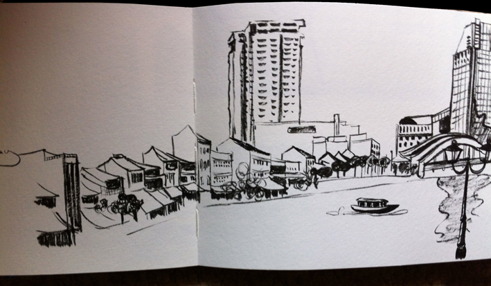 hk boat quay sketch singapore