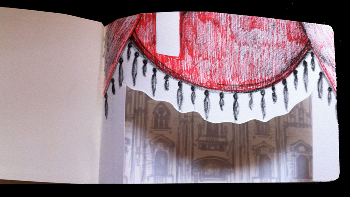 My sketch reflecting La Scala Milan after seeing the ballet Romeo & Juliet plus the stunningly beautiful wedding cake style Duomo.