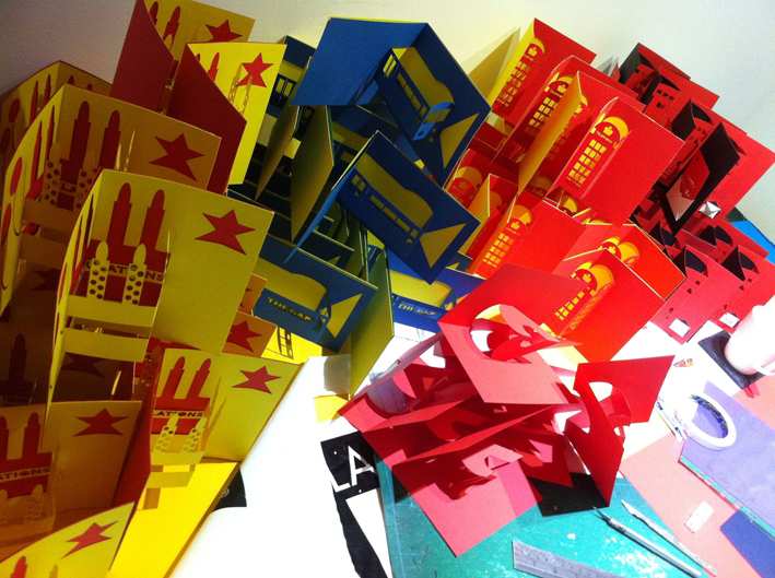 London pop-up cards at Indish