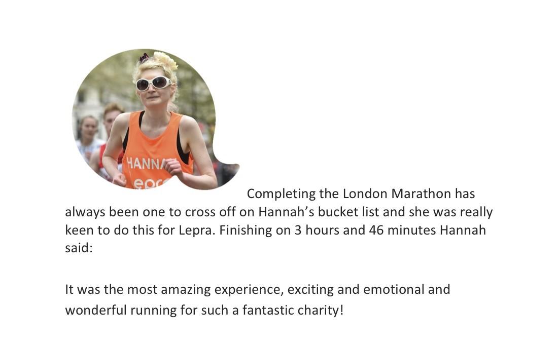 Hannah kokoschka running London Marathon for Lepra 2016