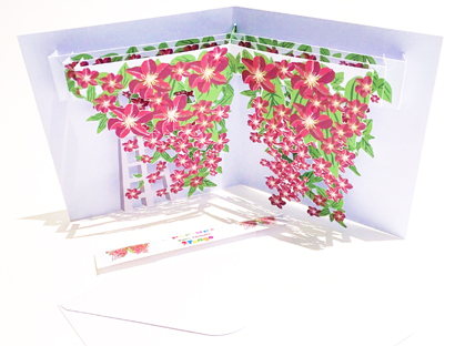 Clematis  Vine themed pop-up card (part of a set of six)  CLICK HERE TO PURCHASE