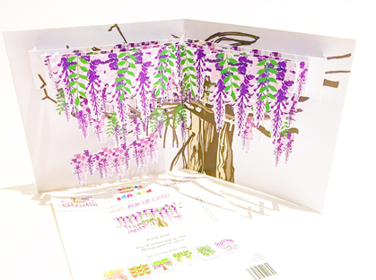Wisteria  Vine themed pop-up card (part of a set of six)  CLICK HERE TO PURCHASE