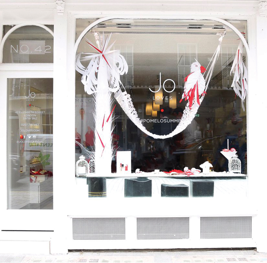 Client: Jo Loves  Commissioned to create a beach themed paper art installation / window display.