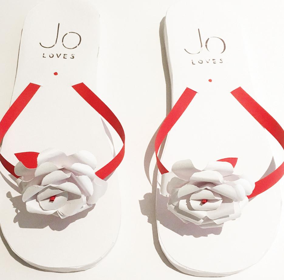 Paper flip flops for Jo Loves