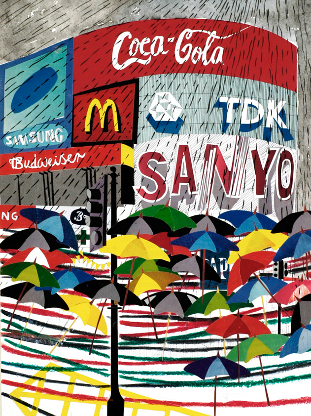 Piccadilly Circus mixed media collage.