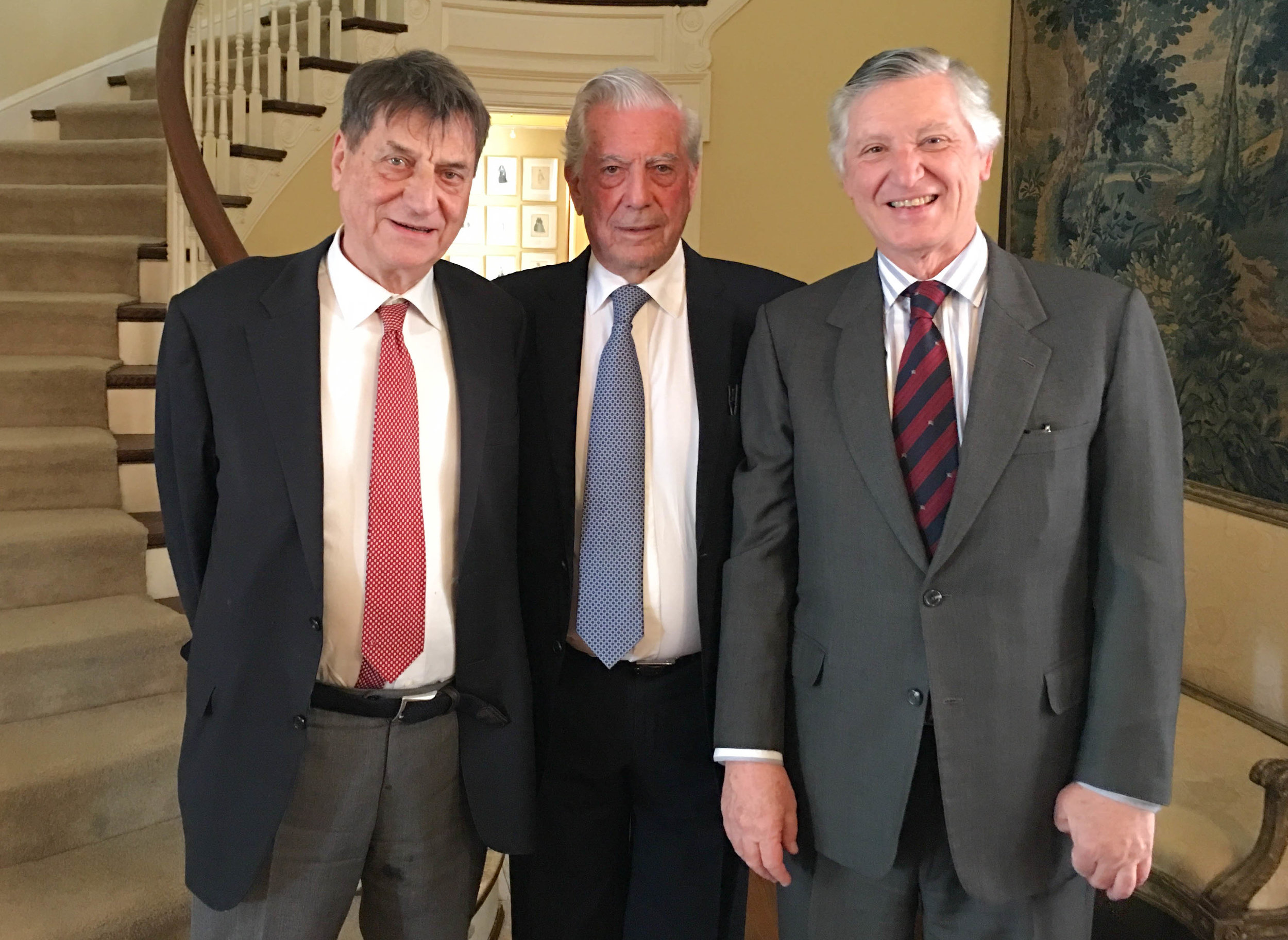 Ambassador of Peru, Carlos Pareja (right), offered a reception at the Embassy of Peru honoring the two writers, Mario Vargas Llosa (center), and Claudio Magris (left), among other invitees, before their presentation at the Georgetown University.