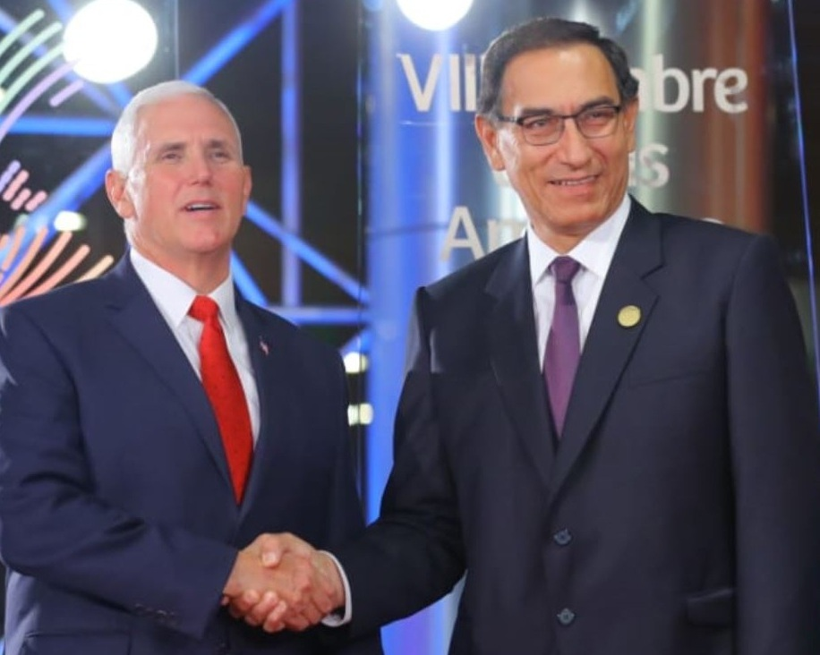 U.S. Vice President Mike Pence met Peru's President Martin Vizcarra during a bilateral meeting at the Summit of the Americas in Lima, Peru.