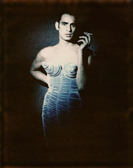 """Paolo Roversi (Italian, b. 1947).  Tanel Bedrossiantz , 1992. Digital print, 15 x 12 in. (38.3 x 30.8 cm). Jean Paul Gaultier's """"Barbès"""" women's ready-to-wear fall-winter collection of 1984–85. © Paolo Roversi"""