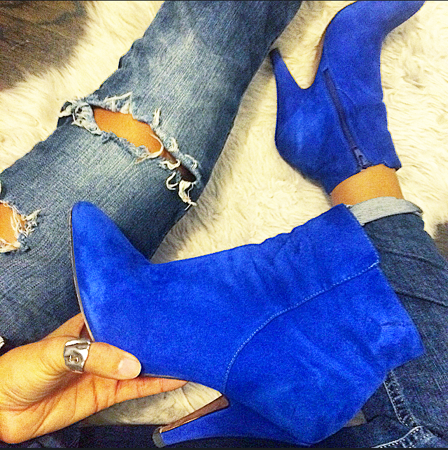 AkelectiveMuse Blue Suede Bootie
