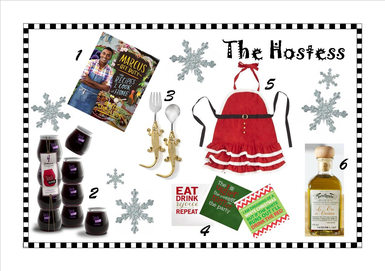 1) Marcus Off Duty: The Recipes I Cook at Home   2) Stack Wine Individual Servings   3) Golden Gator Serving Set    4) Assorted beverage napkins    5) Mrs. Claus Apron   6) Italian White Truffle Oil