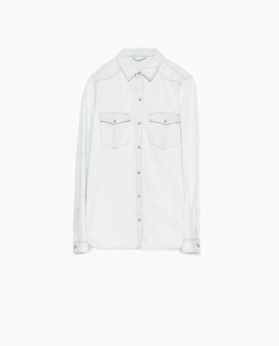 Zara: Bleached Denim Shirt $49.90