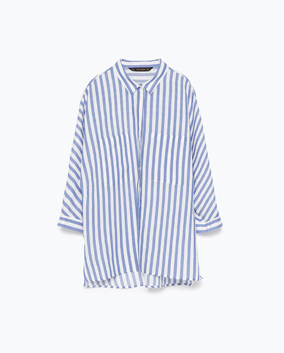 Zara Blue Striped Skirt with Kimono Sleeve