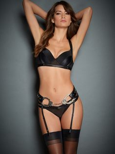 V leather belt and handcuffs