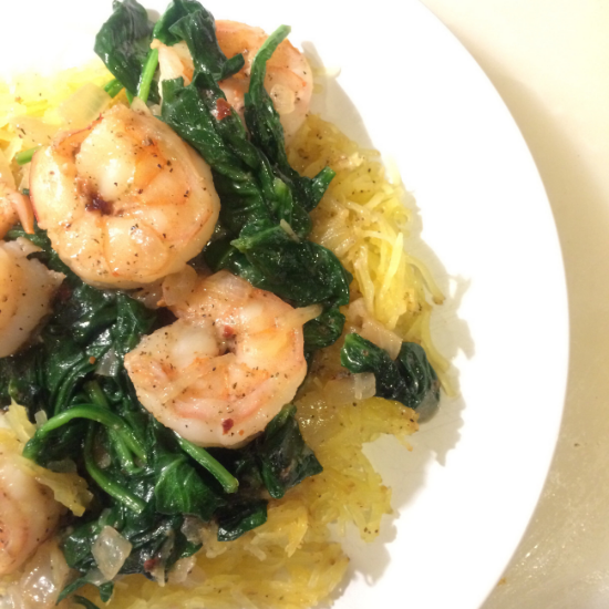 Spaghetti Squash with Spinach and Shrimp