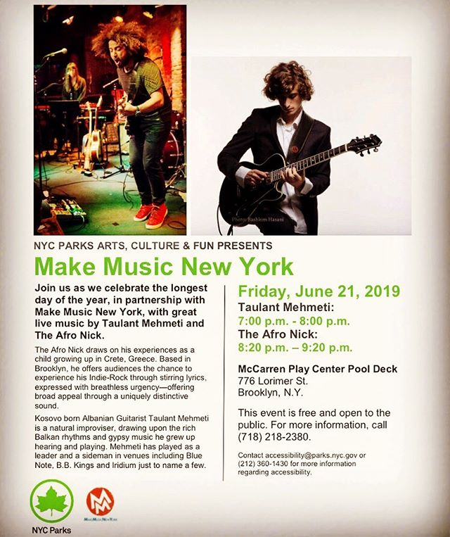 June 21st! https://www.nycgovparks.org/events/2019/06/21/arts-culture-fun-make-music-new-yor