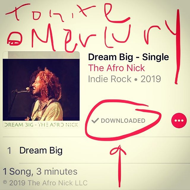 """Dream Big"" now in Stores!  https://ampl.ink/WBjpN Grab your 🎟️ bit.ly/TheAfroNickMercury  Tonight @mercuryloungeny With @Canetband  #newrelease #single  #rerecorded #theafronick  #newyork #love #guitar  #musicproducer #rock  #indierock #alternative  Shout out to:  @leogenovesepiano keys,  @bpercivall bass, @willhaywoodsmith drums,  @maxtmaples percussion,  @jfettig sound, piano,  @nolanthies sound,  #IvanJulian sound,  @jlouca mix,  @demifuguemastering mastering"