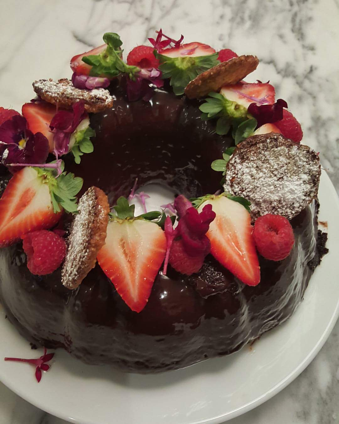 Garnish with ganache , fresh berries and flowers or what ever makes you happy! Just enjoy your cake. You made it!