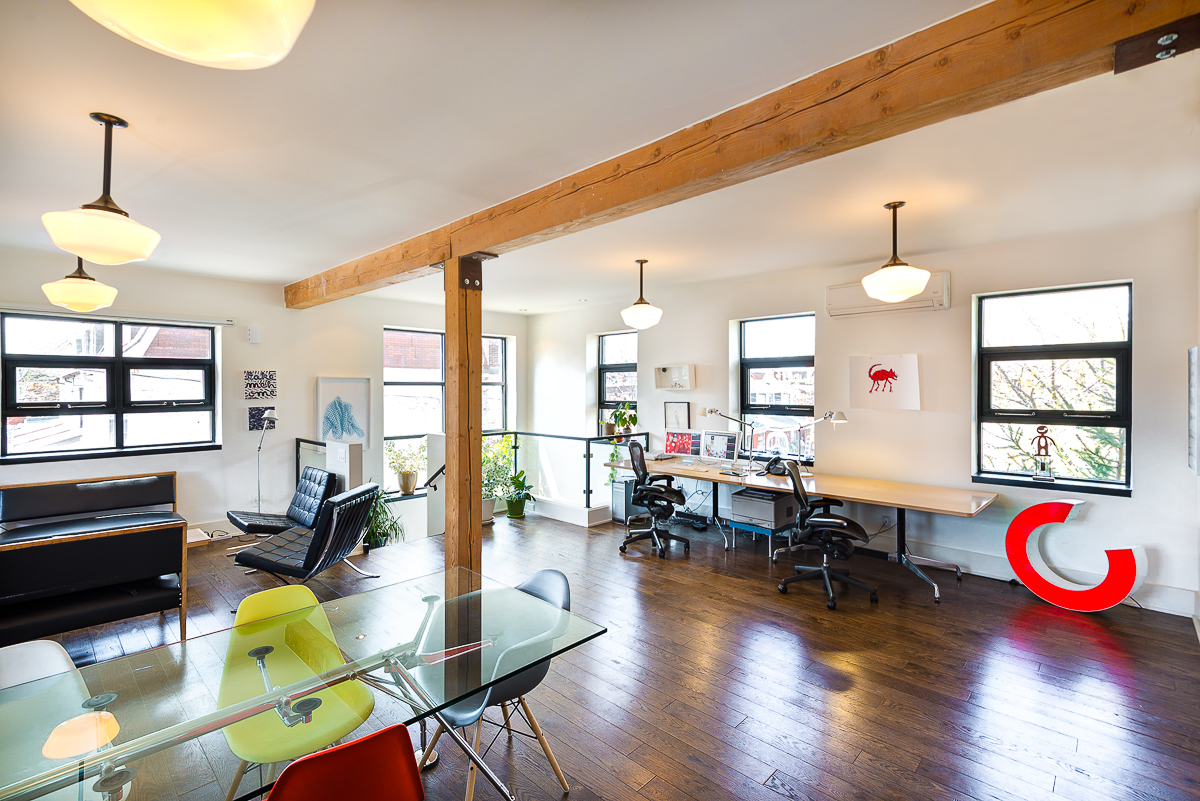 Main space, part office, part living room.