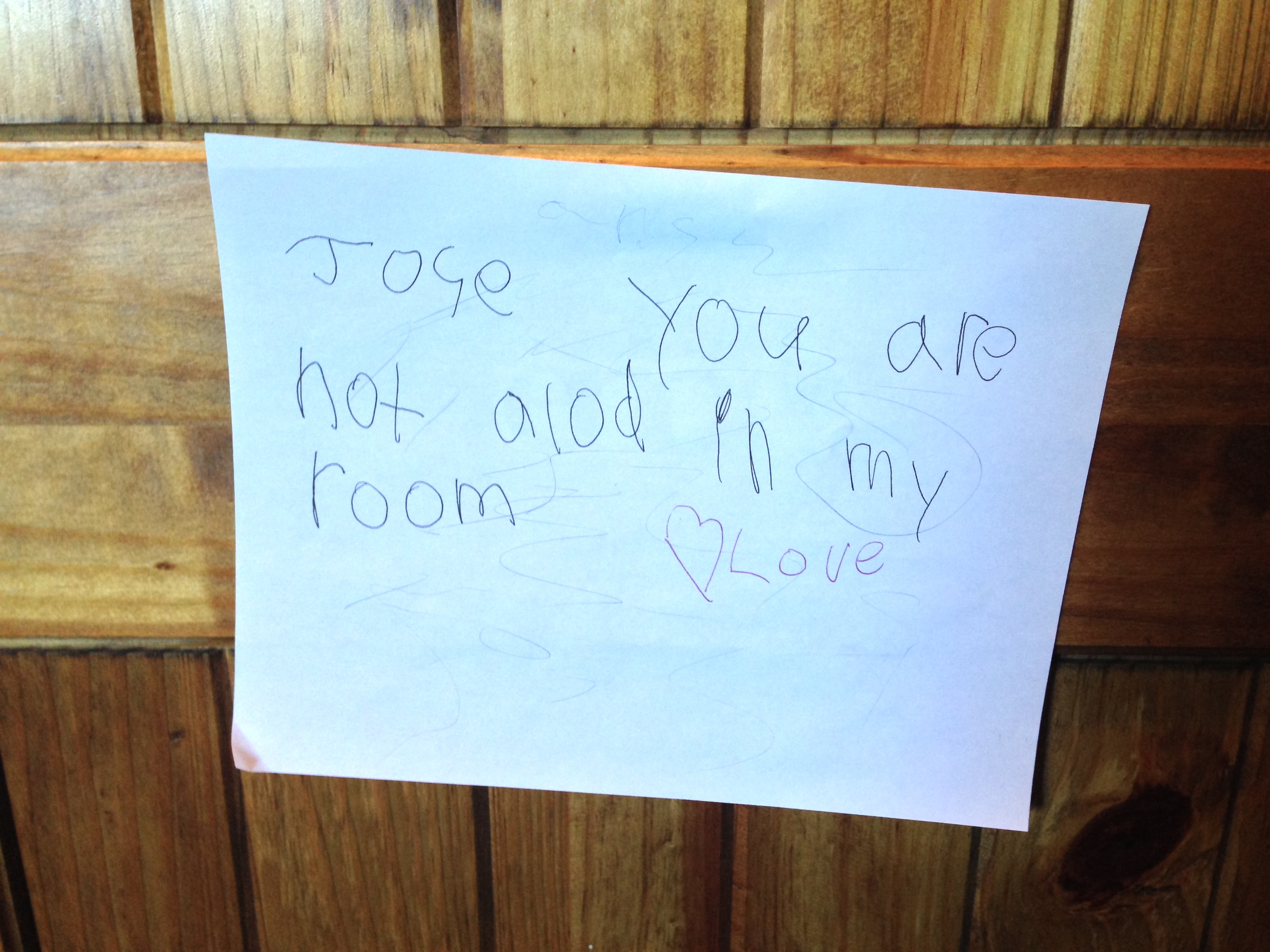 This note was found at a shoot in Truckee. We don't have anyone on our crew with the name Jose so we are guessing this is an old note from a previous shoot. Anyway, glad to know the client is full of love.