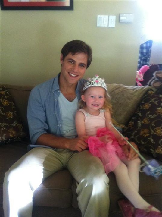 """Abigail with Sam Page on the set of """"A Proper Send Off""""."""