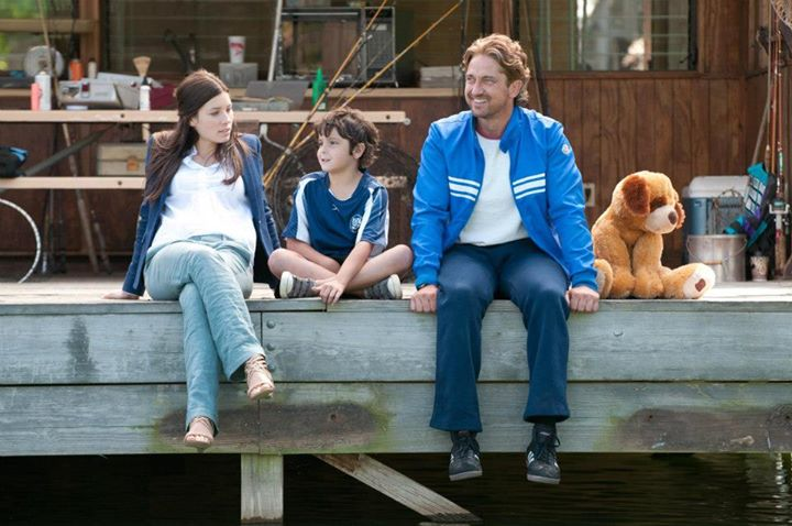 "Noah with costars Gerard Butler and Jessica Biel in ""Playing for Keeps""."