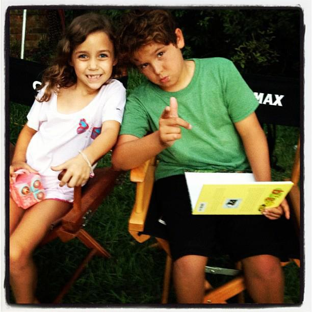 "Noah with costar Mimi Kirkland on the set of ""Safe Haven""."