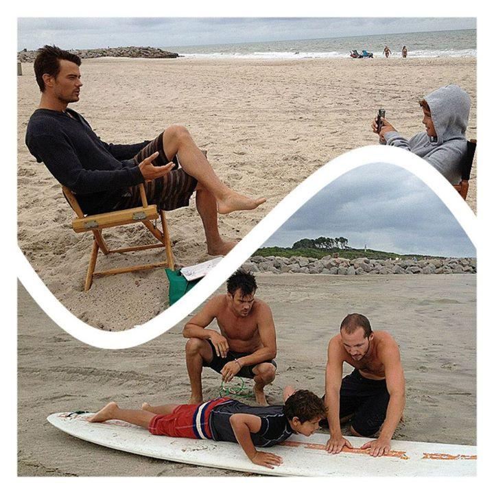 """Noah on the set of """"Safe Haven"""" with Josh Duhamel."""