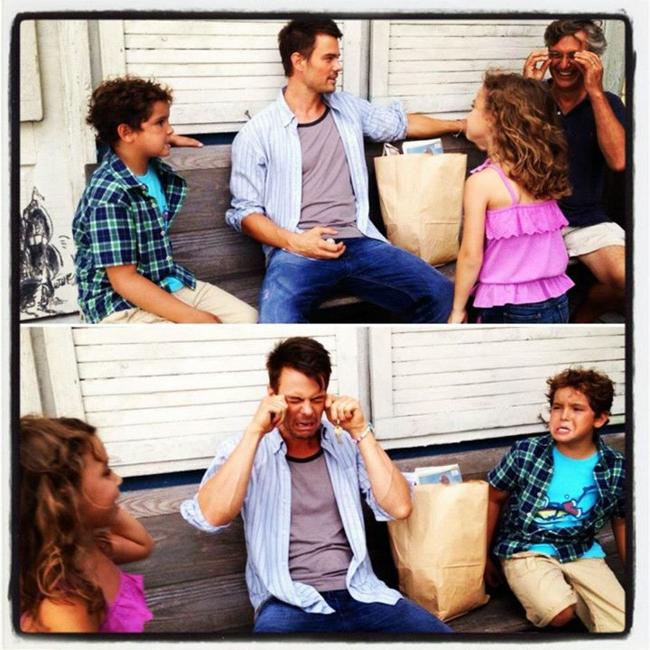 "Noah and costars joking around on the set of ""Safe Haven""."