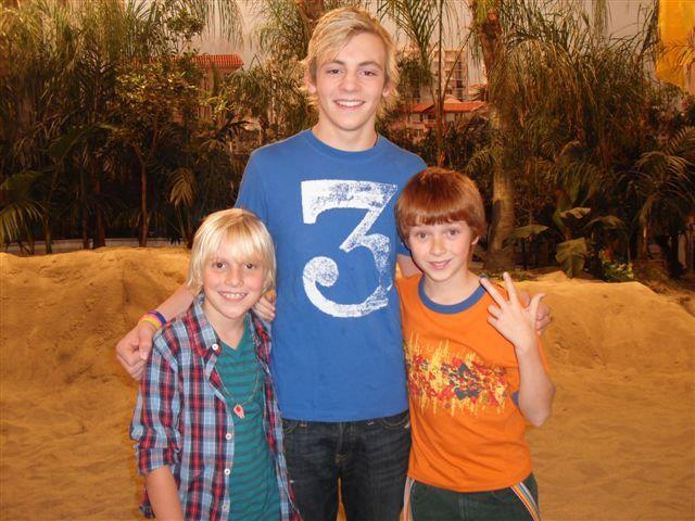 "Sam Adler, Ross Lynch ""Austin"" with his ""Mini Me"" Miles on the set of ""Austin & Ally""."