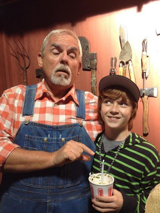 "Sam Adler and John Ratzenberger, on the set of ""Super Buddies""."