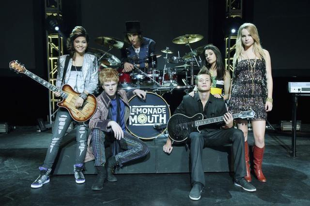 """Nick Roux and the rest of the cast of """"Lemonade Mouth""""."""