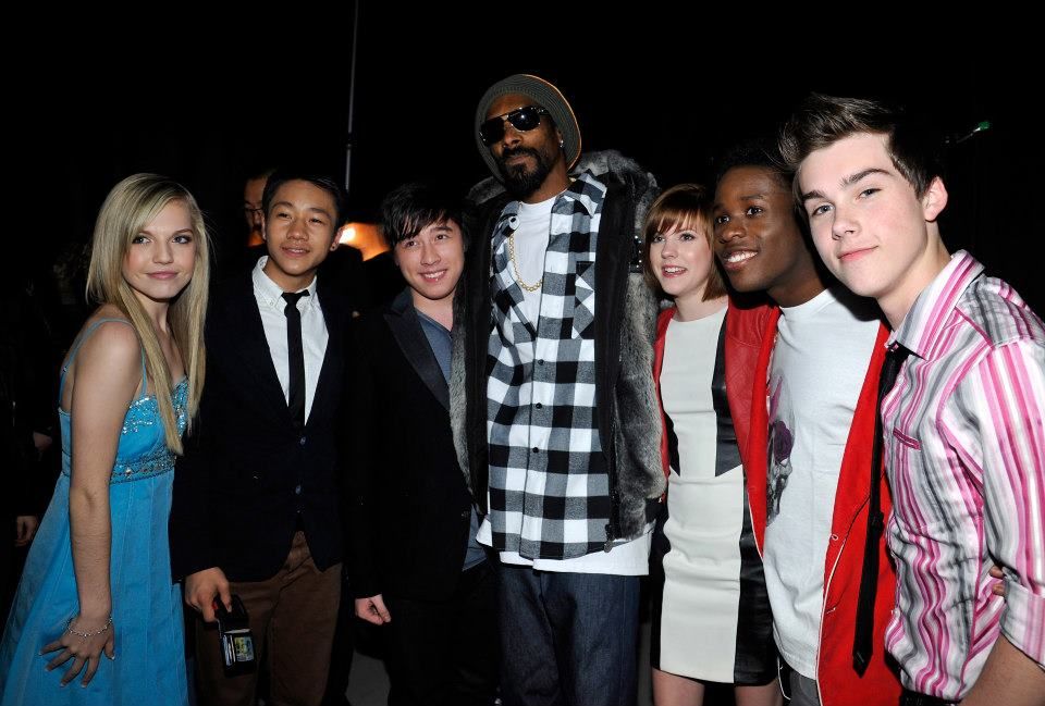 SANTA MONICA, CA - FEBRUARY 09: (L-R) Shauna Case, Brandon Soo Hoo, Tristan Pasterick, Snoop Dogg, Chanelle Peloso, Shameik Moore and Jeremy Shada attend the Third Annual Hall of Game Awards hosted by Cartoon Network at Barker Hangar on February 9, 2013 in Santa Monica, California. 23270_004_SK_0285.JPG (Photo by John Sciulli/WireImage) 2013 WireImage     — at   Cartoon Network Hall of Game Awards  .