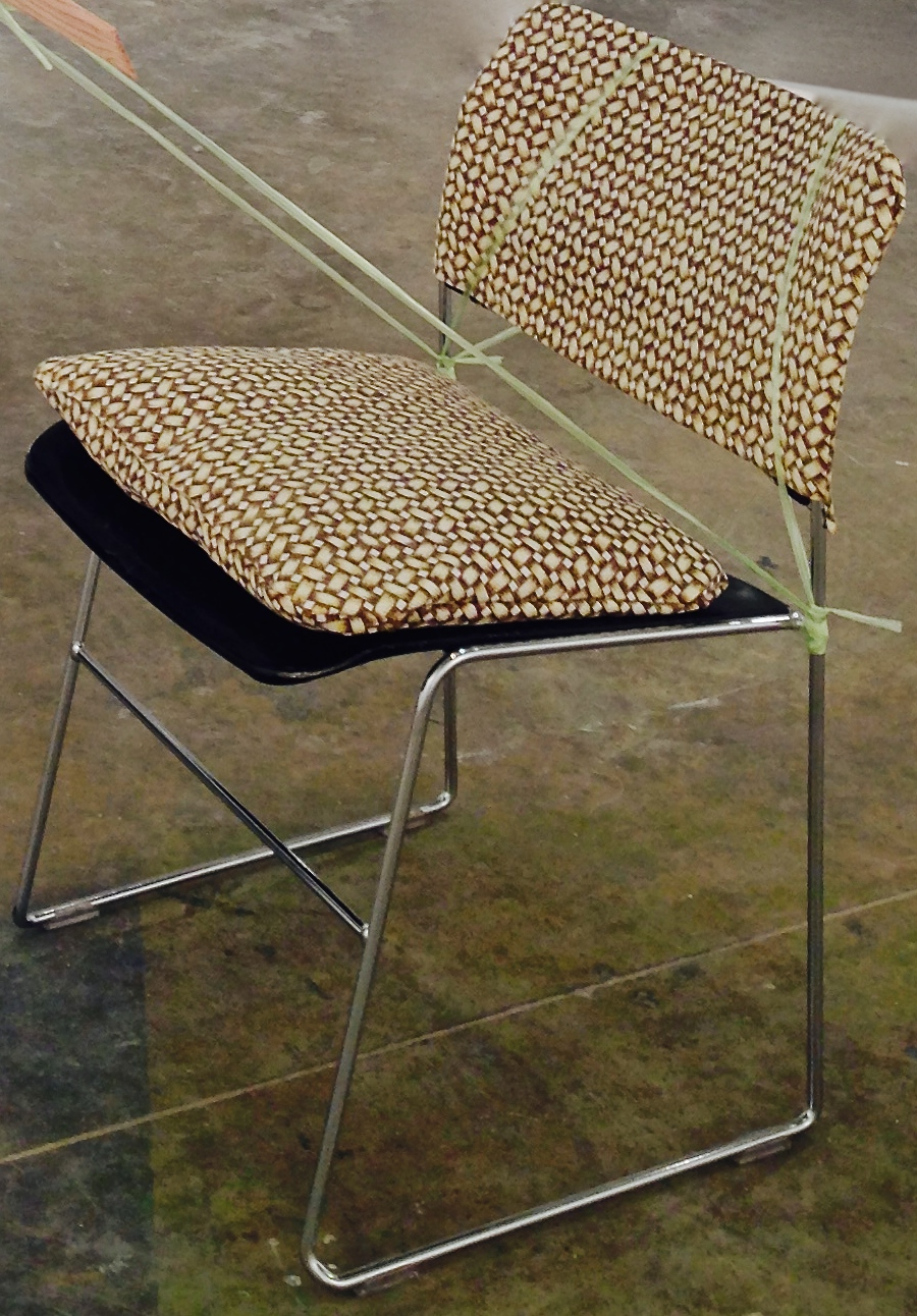 Loom, 2014, plastic chord, custom Banig-print fabric chair covering, Yale critique chair