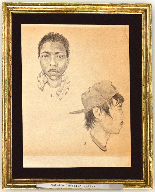 """""""Fig.41 - ethnic artist"""", 2009, pencil drawing on coffee-stained paper, velvet, glass, antique frame, hand-typed label"""