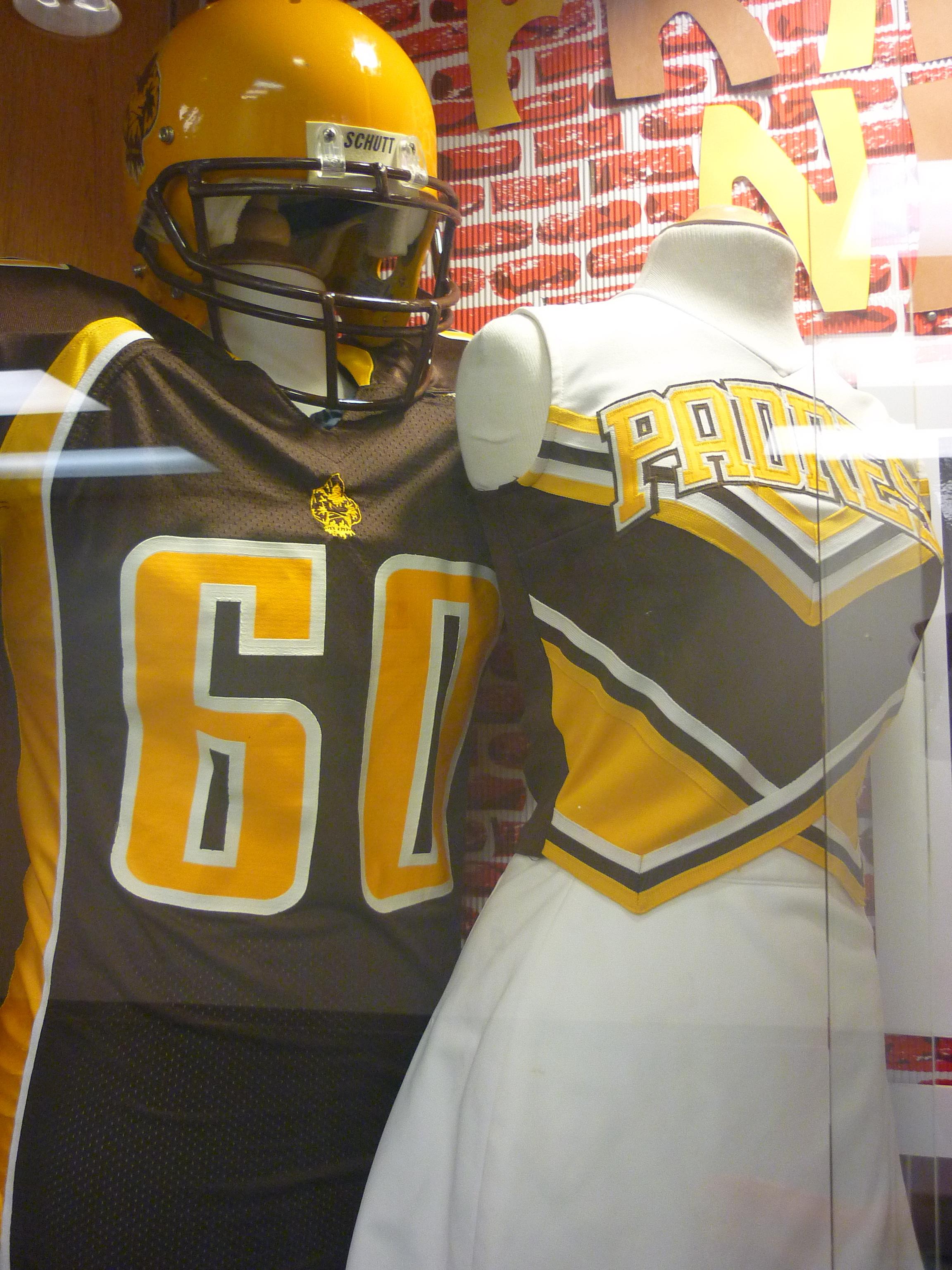 Marcos de Niza High School display showcasing Padre uniforms