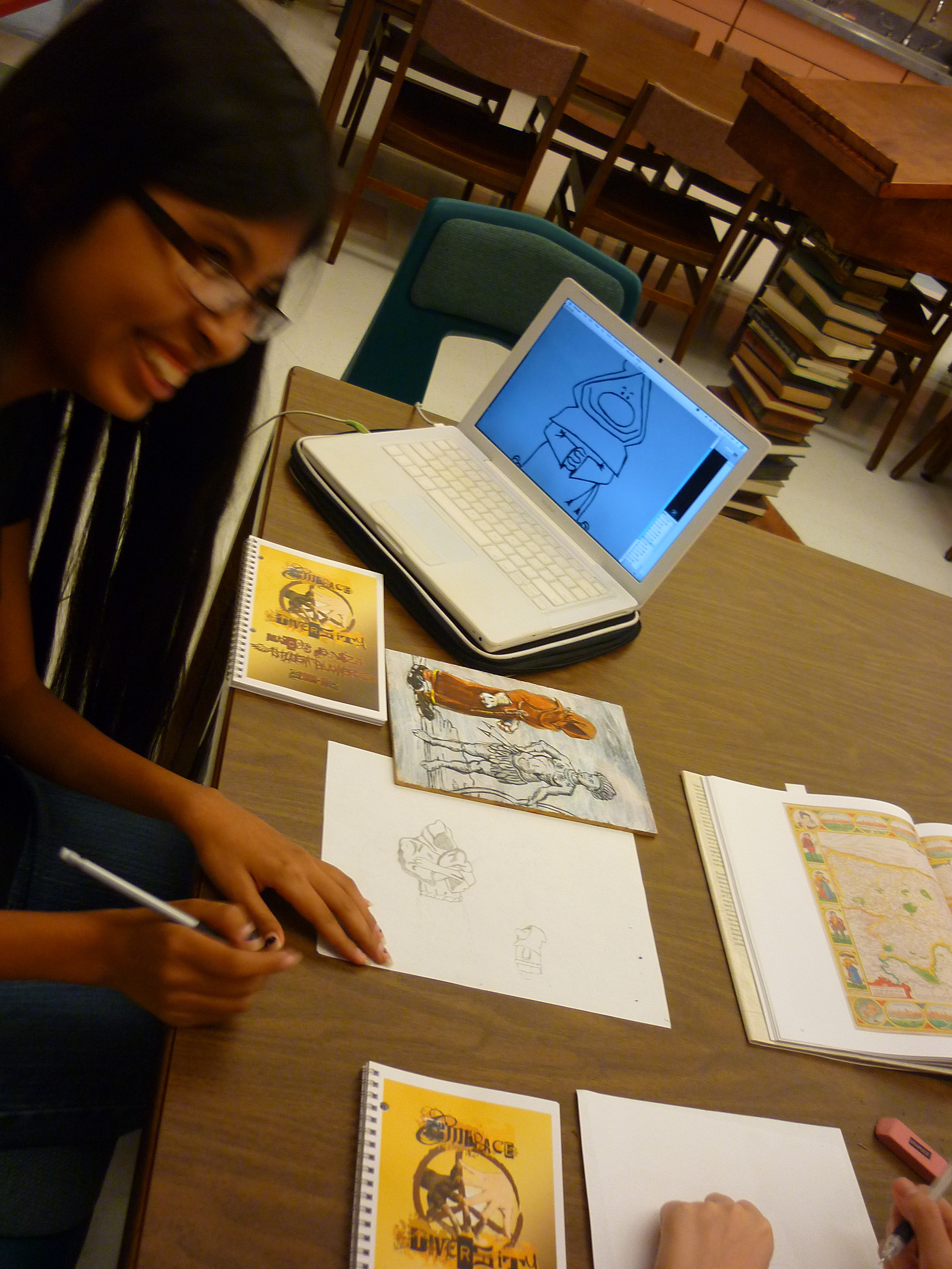 """Marcos de Niza student at work during """"What Would Marcos See?"""" workshop"""