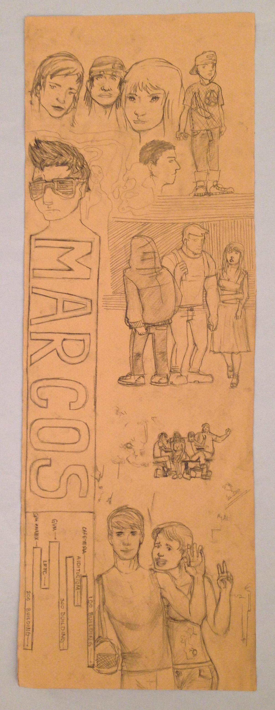 Student drawing of Marcos de Niza High School life