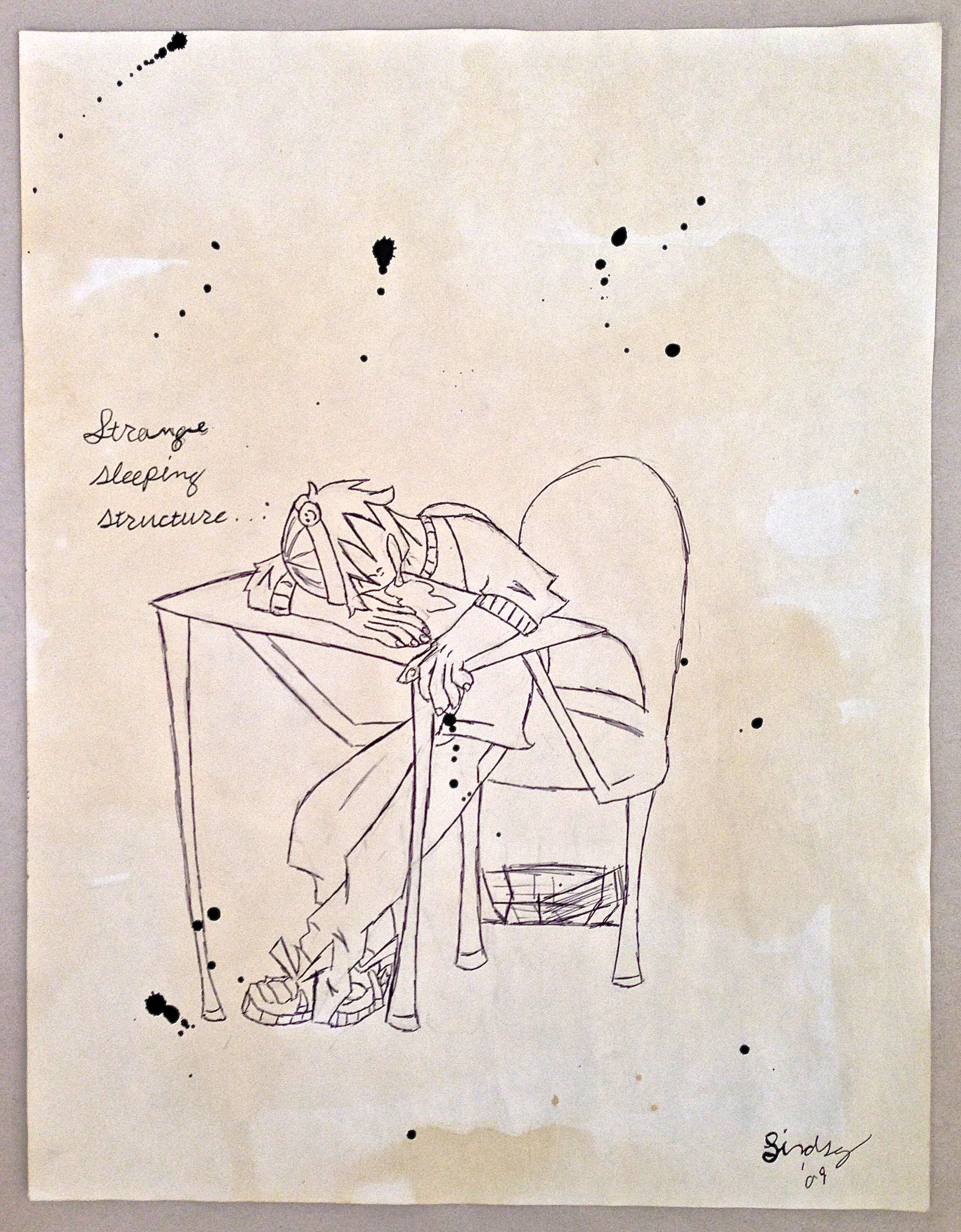 """Student drawing of """"strange sleeping structure"""""""