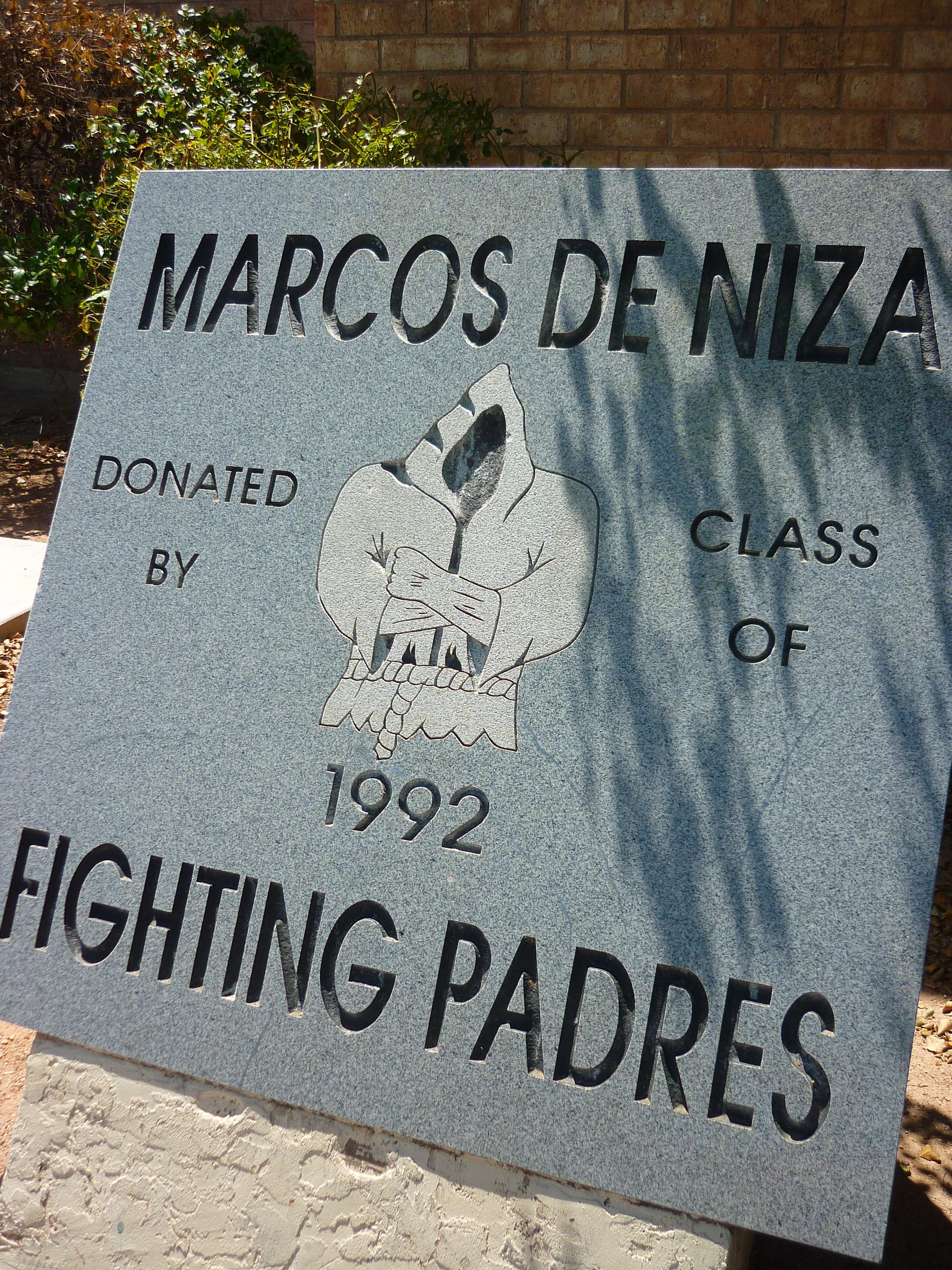 """""""Fighting Padres"""" dedication plack located at entryway to Marcos de Niza High School campus"""