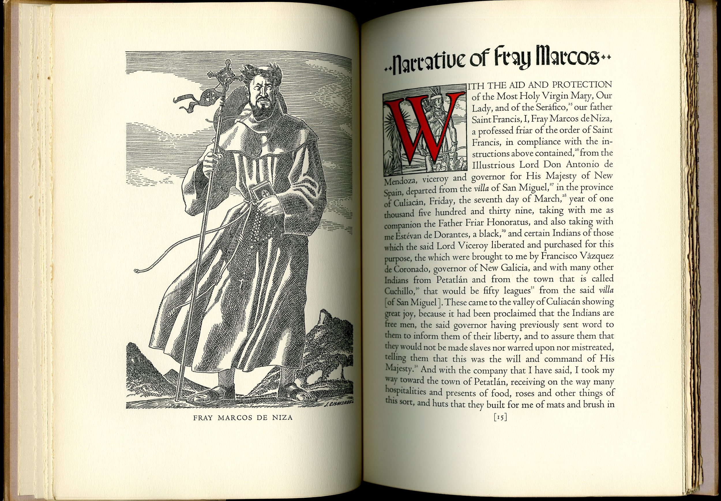 """Page spread from """"The journey of Fray Marcos de Niza (1949), translated and edited by Cleve Hallenbeck. UTSA Libraries Special Collections."""