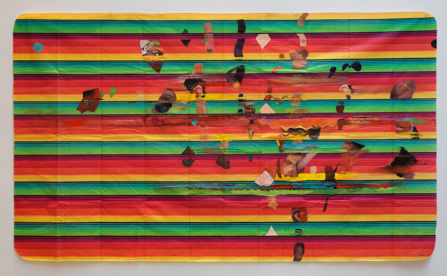 """2013, oil on plastic """"fiesta"""" tablecloth, 52 x 90 inches"""