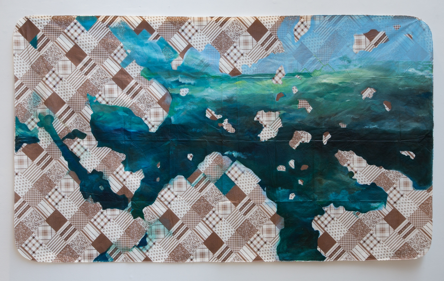 Sea with Blank Stares , 2013, oil on plastic tablecloth, 52 x 90 inches